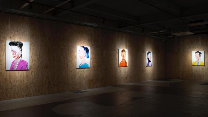 """A Painting And My Painting"", vista da exposição de na KUGURU, Yamagata, Japão"
