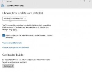 Advanced Windows 10 update options