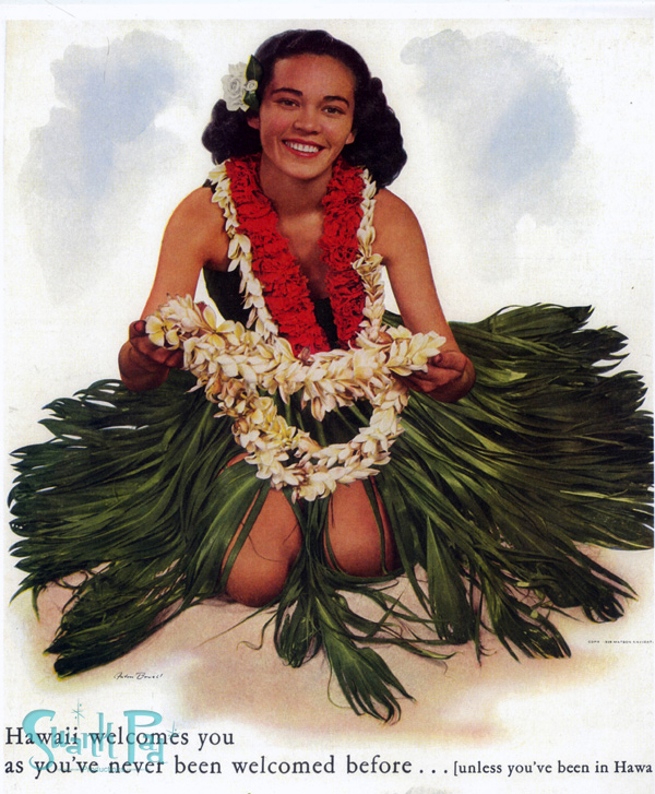 Randy's mother Pualani as the face of the Matson Lines, the early ship taking tourists to Hawaii.