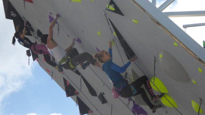 A group of climbers climbing