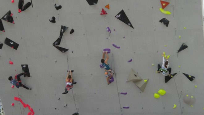 Climbers at the ISFC Climbing World Cup in Villars