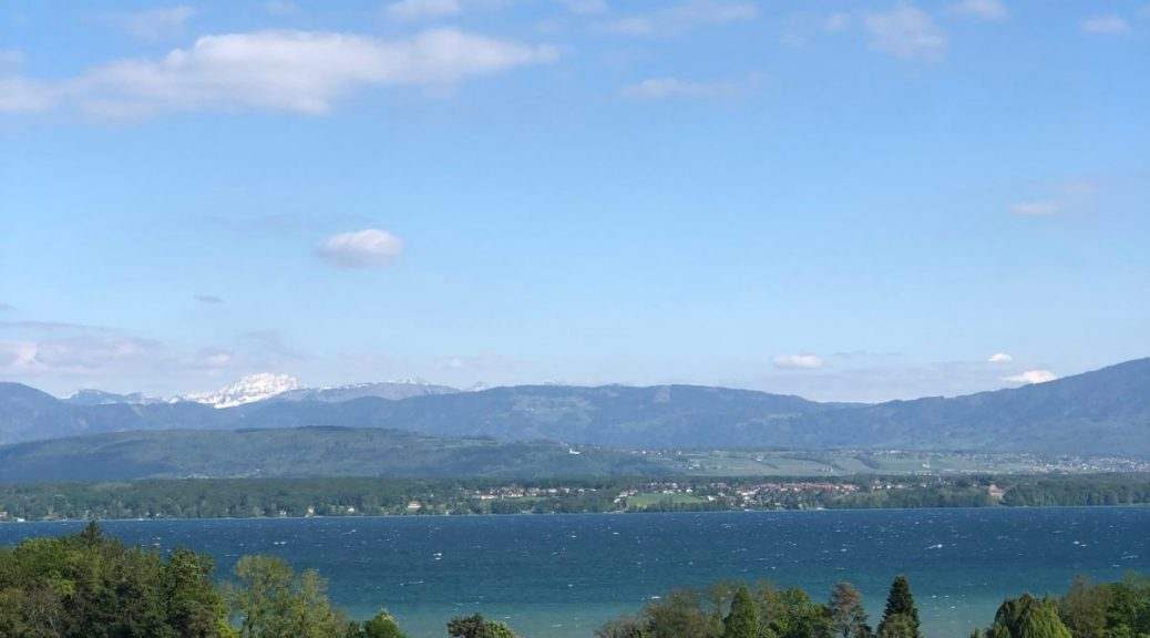 Looking down towards the Lac Leman. You can see the white lines at the top of waves being pushed along by the wind.