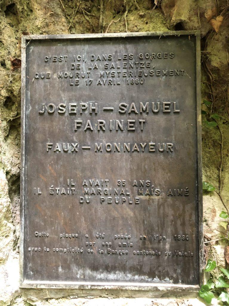 Plaque describing Farinet
