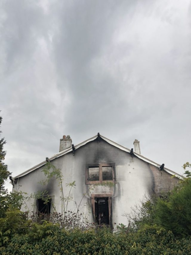 Burnt out house