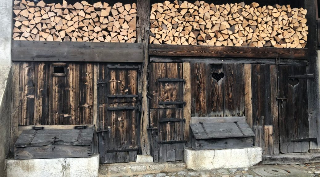 Old wooden doors and young firewood. See if you can spot the cow.