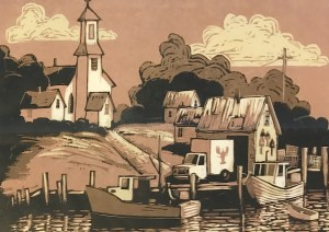Town Landing by David Witbeck (wood cut)