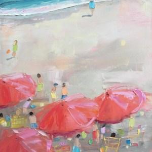 Red Umbrellas Yellow Beach Chairs