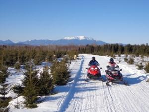 Parkway Scenic Loop Trail snowmobiling near Millinocket, Maine - photo: Richard Levasseur
