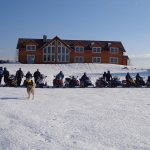 Happy Snowmobilers at 5 Lakes Lodge near Millinocket, Maine - photo: Richard Levasseur
