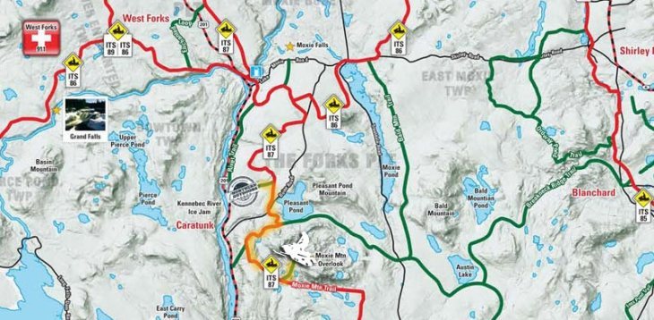 maine snowmobile trail map snowmobiling to moxie mountain overlook in caratunk maine