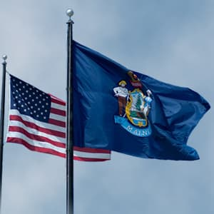 Image result for Maine Flag and USA Flag