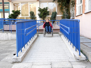 Person using ramp