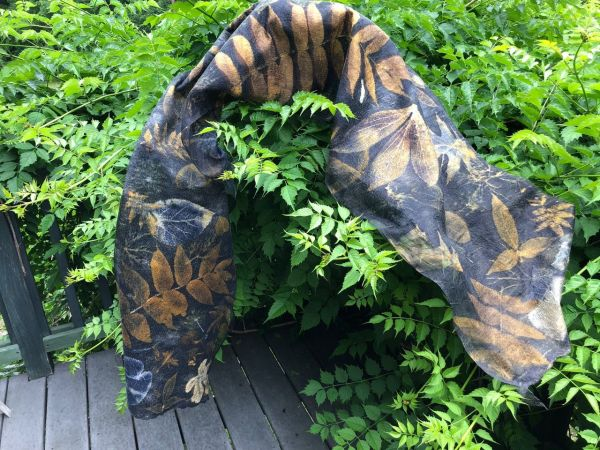Eco Dyed Scarf (with greenery)