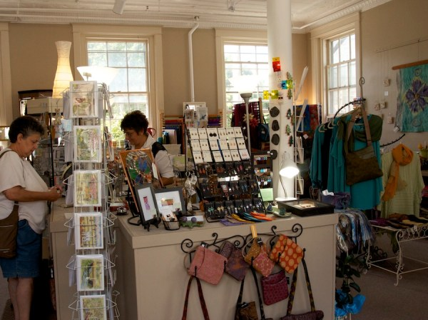 The upstairs gallery is filled with the work of local and American craft artists.
