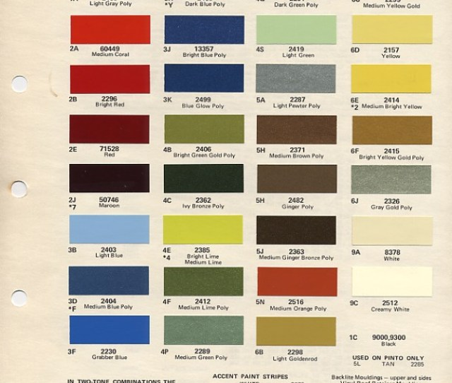 1972 Mustang Paint Colors Codes
