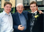 Still on a racing theme: The late John B. Keane pictured with jockey, Barry Geraghty and his colleague, A.P. McCoy at the official opening of the Finesse Bridal Wear Boutique in The Square in Listowel. ©Photograph: John Reidy 17-4-2000