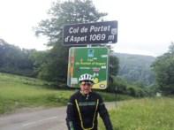 Tommy on the Col de Portet d'Aspet at 1060 metres.