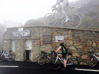 Tommy Sheehy at the Col du Tourmalet at 2115 metres during his cycle through France.