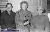 Neighbours of the New York Life / Nylerin offices were invited to the official opening in November 1988. Margaret O'Mahony, (left is pictured with: Kathleen Reidy and Mai Corkery-Hennessy. ©Photograph: John Reidy 15-11-1988
