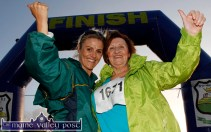 Delight for Tess Fitzgerald, Cordal as she finishes her first Couch-to-5K challenge with her mentor/ encourager, Liz Broderick at the finish at An Riocht AC on Friday evening. ©Photograph: John Reidy