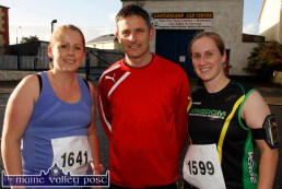 Maura Shortt, Ballymacelligott (left) with Roland Rogers, Tralee and Leanne McCarthy, Tralee pictured at the start of An Riocht AC Couch-to-5K Road Race/Fun Run in Castleisland on Friday evening. ©Photograph: John Reidy