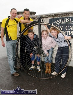 The Penny Farthing bicycle added an element of curiosity to announcement of details of the first Currow Cycling Club charity run in aid of the Castleisland Day Care Centre Physiotherapy Unit in 2007. The event was held on Sunday, September 2-2007. At the launch were: Eamonn Collier (left) with: Shane O'Neill, with: Shane, Rowan and Tim Collier. ©Photograph: John Reidy 10/08/2007