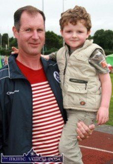 Neily O'Mahony, Knockachur pictured with his son, Aaron at the annual Tralee & District Canine Club Show at An Riocht Athletic Club grounds in Castleisland. ©Photographs: John Reidy 24-8-2013