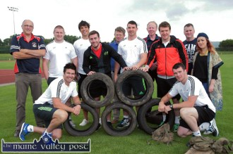 The Olympics of the Military Style Challenge. At the launch of the Hercoileán 'Military Style Challenge' were, front: Billy Holland (left) and Peter O'Mahony. Back row: Dan Casey, Castleisland Rugby Club; Martin Kelly, Donnacha O'Callaghan, JJ Hanrahan, William Dennehy, An Riocht AC; Paddy Butler, Colm Nolan, Castleisland Rugby Club; Mike Sherry, Brian Horgan, Castleisland Rugby Club and Kate McSweeney, An Riocht AC. ©Photograph: John Reidy