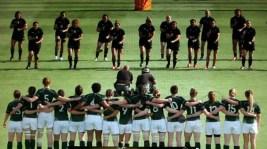 The united Irish team facing up to the daunting Black Fern Haka in Paris yesterday.