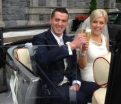 Sláinte: Brendan and Janette celebrating their Just Married status as they leave the Church of Saints Stephen and John in Castleisland on Friday.