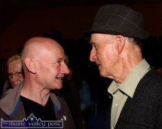 John Toomey, Killarney (left0 in conversation with Jackie Dan Jerry O'Connor after the opening night of the Handed Down series of talks and concerts at Scartaglin Heritage Centre on Saturday night. ©Photograph: John Reidy