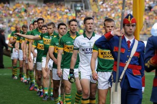 Fionn Fitzgerald leads his team in the All-Ireland Football Final against Donegal in Croke Park 2014. ©Photo: Don MacMonagle
