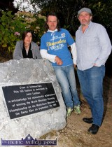 The guest of honour, John Lenihan (centre) pictured with Clare O'Leary and Mike O'Shea at the unveiling at Lenihan's Hill at An Riocht Athletic Club on Monday evening. ©Photograph: John Reidy