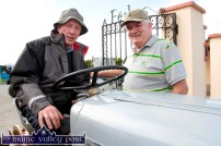 Eamon Walsh, Brosna on his Ferguson chatting with Seán Walsh, Cordal at the start of the third annual Paudie Fitzmaurice Memorial Tractor and Vintage Run at Brosna GAA Club grounds on Sunday morning. ©Photograph: John Reidy