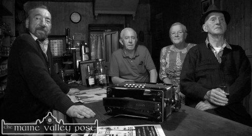 Jackie Dan Jerry O'Connor (right) will play in Scartaglin on Saturday night in the opening night of the 'Handed Down' series. Jackie is pictured here in Sheila Prendiville's Bar & Grocery with his wife Anne; David 'Dauber' Prendiville and Paul Reese. ©Photograph: John Reidy 4-9-2014
