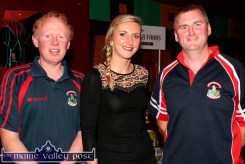 Castleisland RFC members, Colm Nolan (left) and Brian Horgan pictured with special guest, Irish Rugby International, Siobhán Fleming at the Garvey's SuperValu / Castleisland Rugby Club Bake-Off at the River Island Hotel. ©Photograph: John Reidy