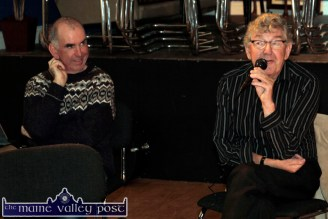 Nicky McAuliffe speaking at the second in the Handed Down series of talks and tunes at the Scartaglin Heritage Centre on Saturday night with PJ Teahan, series founder. ©Photograph: John Reidy