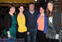 Mairead O'Keeffe, Currow (left) pictured with: Christine Buckley, Firies; Seán McGuire, Scartaglin; Anita O'Connor, Cordal and Ruth O'Donoghue, Castleisland enjoying the HercOileán After Party at An Riocht AC on Saturday night. ©Photograph: John Reidy