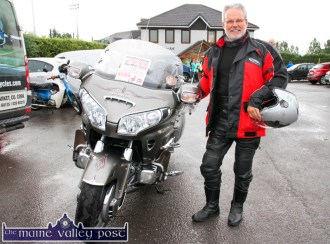 Goldwing Club member and event marshall, Con Cremin pictured at the start of the annual Honda Fun Run in aid of Oileán Beó in Castleisland on Sunday morning. ©Photograph: John Reidy