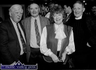 The late Johnny O'Leary (right) pictured with the late Ciarán Mac Mathúna (left) with Jimmy O'Brien and Ciarán's wife, Dolly McMahon on the occasion of the celebration of his 40th year of Radio Éireann broadcasting at the River Island Hotel in Castleisland in March 1995. ©Photograph: John Reidy 11-3-1995
