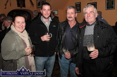 The Black Banks Brigade: Celebrating life itself and the fair day atmosphere in Kearney's Bar, Castleisland on Saturday were: Katie Cronin, MIkey O'Connor, Mike O'Callaghan and Den Joe O'Connor from Brosna. ©Photograph: John Reidy