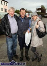 Mike Cronin, Gneeveguilla (left) pictured with John and Pauline Sheehy, Ballyhar at Castleisland's annual November 1st Horse Fair on Saturday. ©Photograph: John Reidy