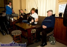 Co-producer, Liam O'Brien working on the making of the RTÉ Radio 1 Documentary on the life and times of Con Carey at Kate Pats's Bar in Brosna with from left: Seán Garvey, Danny O'Mahony and Richard Moloney. ©Photograph: John Reidy 13-11-2013