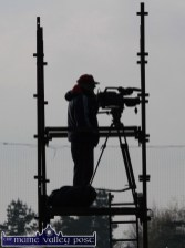 One to keep: Videographer, Paudie Herlihy on his perch during the All-Ireland Intermediate Ladies Club semi-final between Desmonds and Kilmacud Crokes in Castleisland on Sunday. ©Photograph:John Reidy