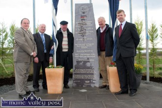 At the opening of the N21 Castleisland Bypass on Friday morning, October 22 are from left: Cllr. Tom Fleming; John O'Connor, head of finance, Kerry County Council; Billy Leen, sculptor; Paddy Flynn, landowner and Paul Curry, Kerry County Council project manager. ©Photograph: John Reidy 22-10-2010