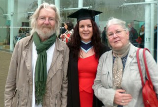 Rachel Gallagher pictured on her graduation day with her parents, Richard and Evelyn.