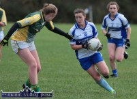 Áine O'Connor goes on the attack for Desmonds as Southern Gaels wing back, Clodagh Quinlan tries to cut off her path during their County Senior Football Division 1 League Final in Keel on Sunday afternoon. ©Photograph: John Reidy