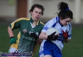 Desmonds wing-back, Tina Mangan going on the attack with Southern Gaels, Amy Fitzgerald in pursuit during their County Senior Football Division 1 League Final in Keel on Sunday afternoon. ©Photograph: John Reidy