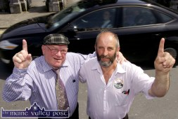 No. 1 for Danny: Jackie Healy-Rae, TD and his son Cllr. Danny Healy-Rae pictured after a traditional after-mass rally in Castleisland on Sunday morning. ©Photograph: John Reidy 31/05/2009