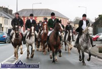 Huntsman, Fred O'Connor leading out the Kerry Hunt Club members as he is flanked by from left: Pádraig O'Connell, Timmy O'Connor and John Ahern as they head off on their Castleisland outing on Sunday afternoon. ©Photograph: John Reidy